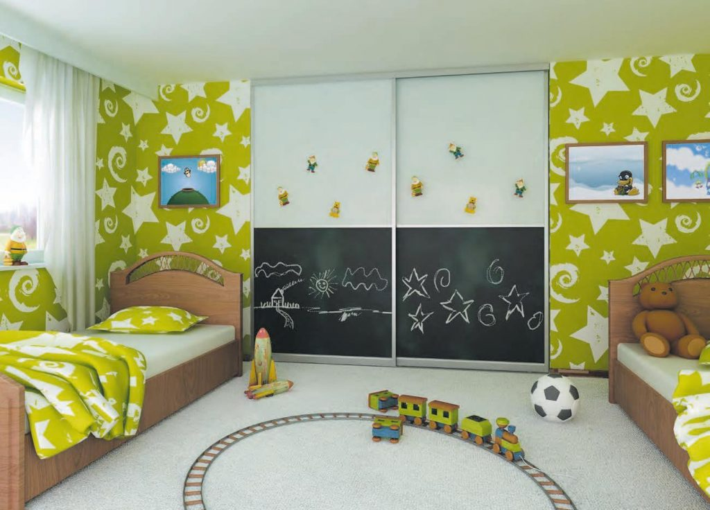 sliding doors kids bed room