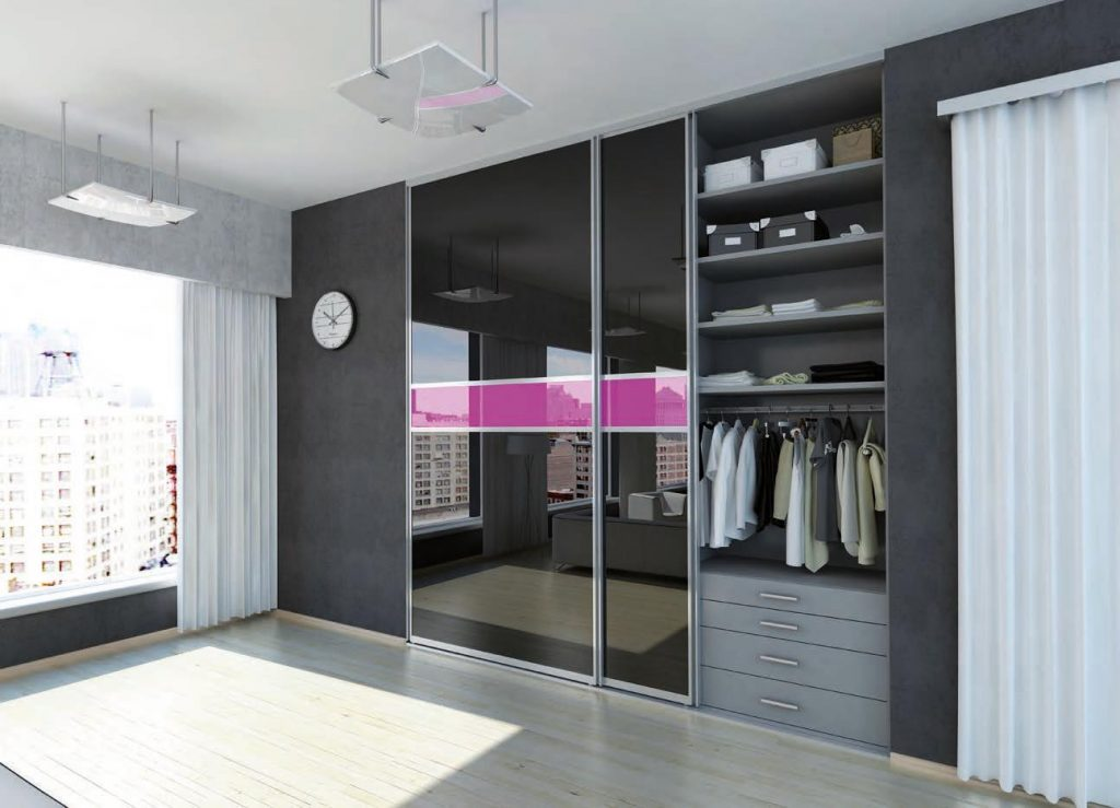 reflective sliding doors