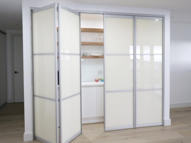 bifold folding end kitchenette doors part open