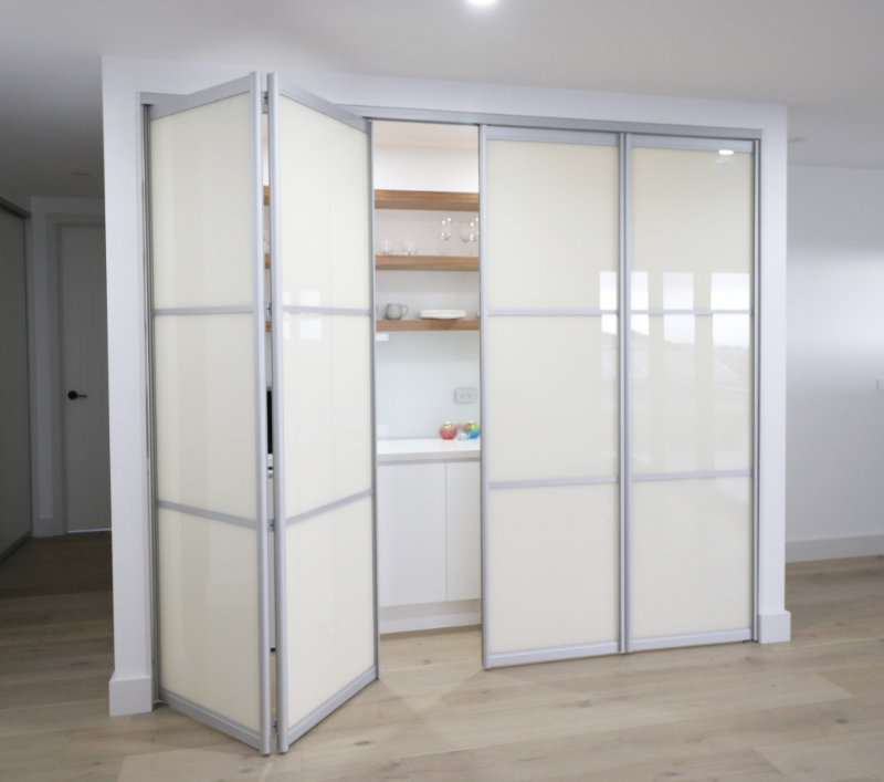 bifold folding end kitchenette doors part open