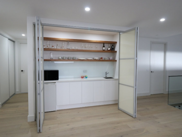 kitchenette folding doors open