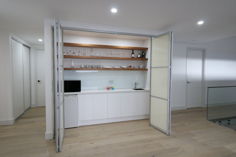 kitchenette folding doors open