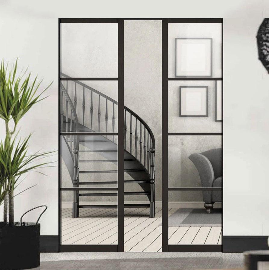 black frame sliding doors