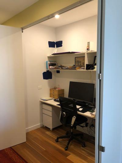home office room divider before shot