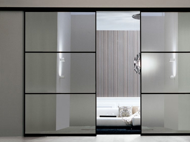 Dividing Two Rooms - Black Satin Hardware With Translucent 3 Glass Inserts Per Panel
