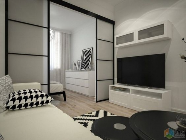 Dividing Two Rooms - Black Satin Hardware With Translucent 4 Glass Inserts Per Panel