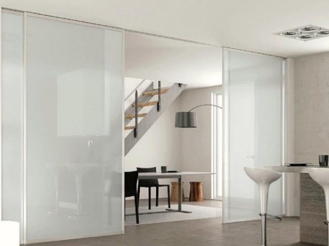 4 Panel Symmetrical Doors - Natural Anodised Aluminium Hardware With White Translucent Full Length Inserts