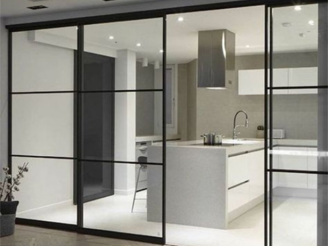 Kitchen To Lounge Divider - 4 Panel Symmetrical - Black Satin Hardware With Clear Laminated Glass Inserts