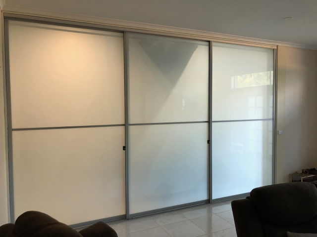 3 One Way, Sliding Doors With Locks - Natural Anodised Aluminium Hardware With Opaque Glass Inserts