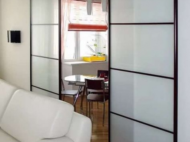 Dining Room To Lounge Divider - 2 Panel Symmetrical - Black Satin Hardware With White Translucent Glass