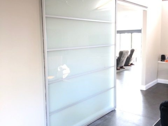 Large Kitchen To Lounge Room Divider - Natural Anodised Aluminium Hardware With Frosted Glass Inserts