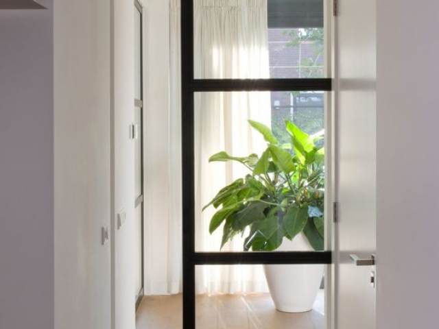 Single Pocket Door, Black Satin Hardware With Clear Laminated Glass Inserts