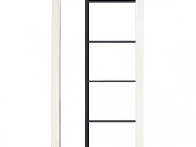 Single Pocket Door With Black Satin Hardware With White Panels