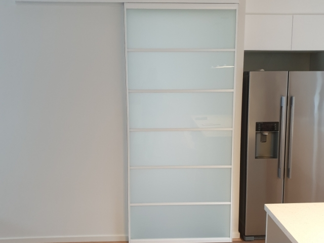 Single Sliding - Contemporary Design - Natural Anodised Aluminium Hardware With Frosted Glass Inserts