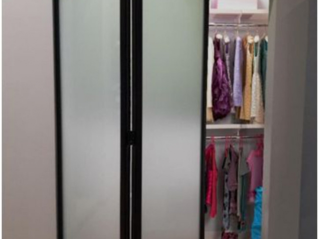 2 Panel Black Satin Hardware With Full Length Frosted Glass Inserts