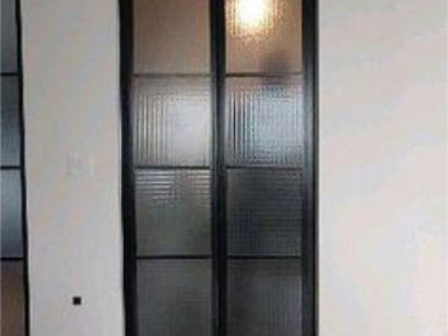 2 Panel, Back Satin Hardware With Reeded Tempered Glass Inserts