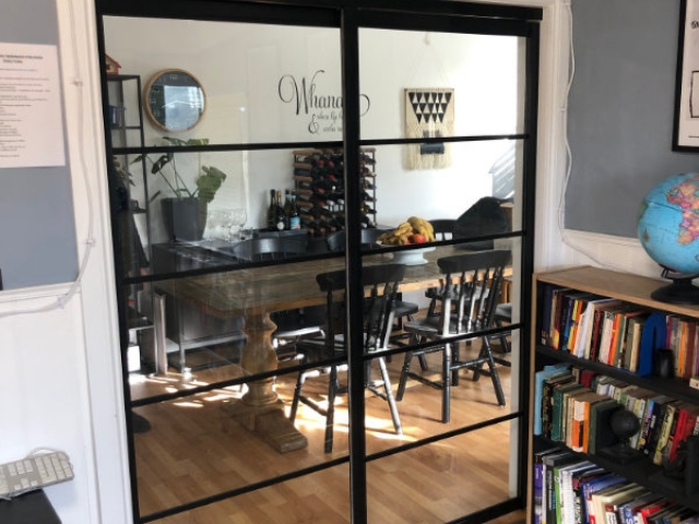 Kitchen Divider - 2 Panel, Black Satin Finish With Clear Laminated Glass