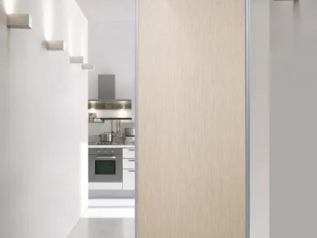 Kitchen Divider - Single Sliding Door - Natural Anodised Aluminium Hardware With Full Length, Double Sided Woodgrain Melamine Inserts