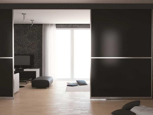 2 Panel Symmetrical - Natural Anodised Aluminium Hardware With Designer Inserts