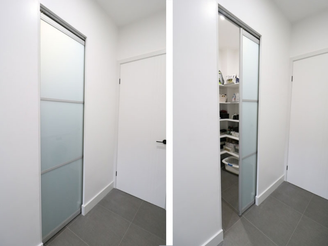 Pantry - Single Pocket Doors - Natural Anodised Aluminium With Frost Glass Inserts